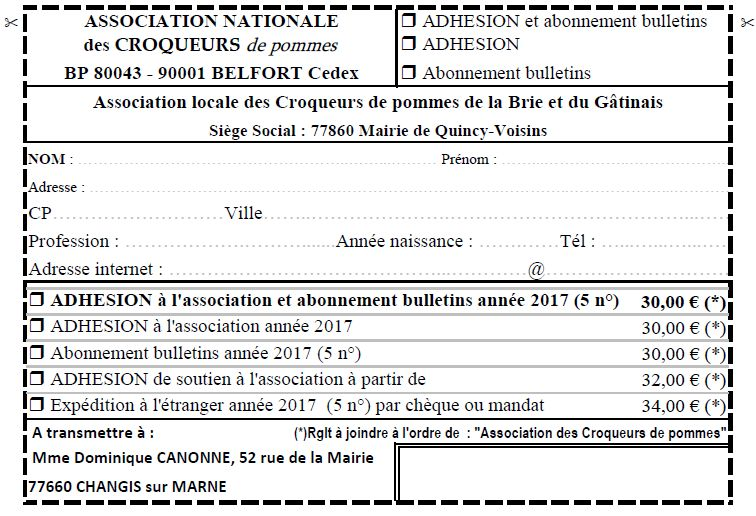 bulletin dadhésion 2017